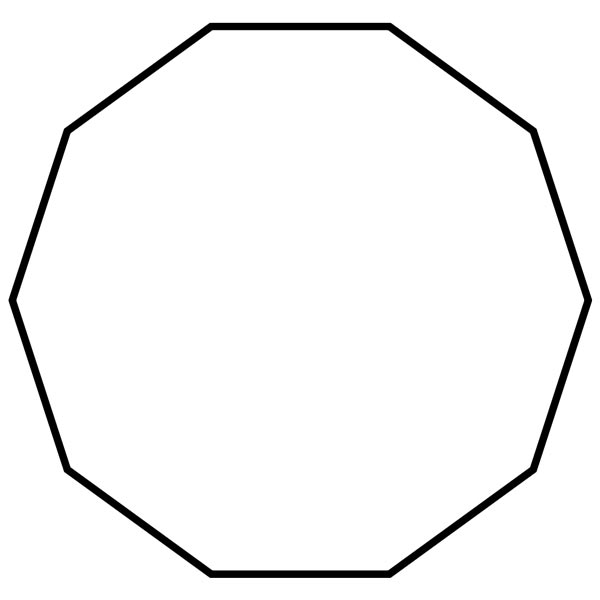 This picture features a decagon. A decagon is a polygon with 10 sides and 10 interior angles which add to 1440 degrees.