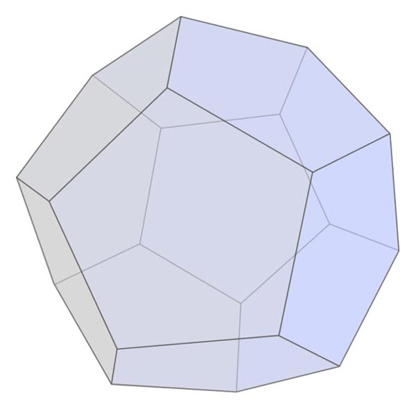 This picture features a dodecahedron. A dodecahedron is a polyhedron with 12 pentagonal faces.