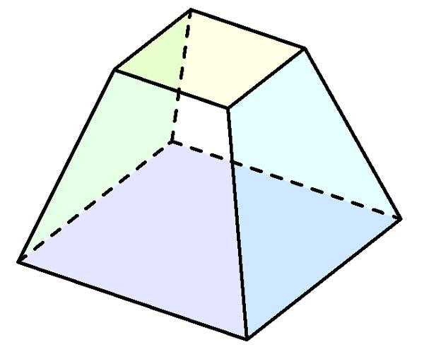 This picture features a frustum created from a square pyramid. A frustum is a shape that makes up part of a three dimensional solid (typically a pyramid or cone) after it has been cut by two parallel planes.