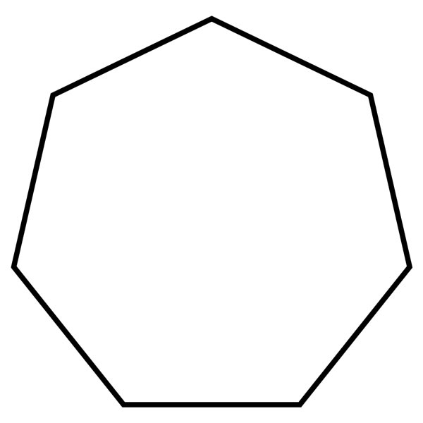 This picture features a heptagon. A heptagon is a polygon with 7 sides and 7 interior angles which add to 900 degrees.