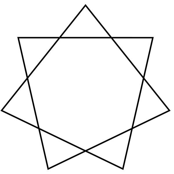 This picture features a heptagram star. A heptagram is a 7 pointed star with 7 straight lines that form the shape of a heptagon in the middle.