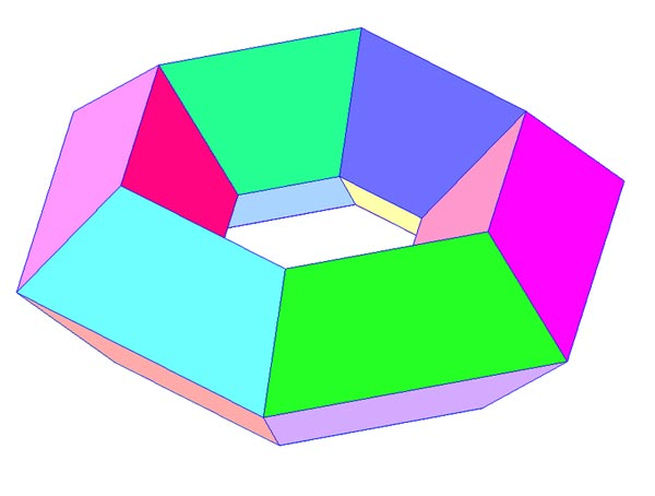 This picture features a toroidal polyhedron in the shape of a hexagonal torus.