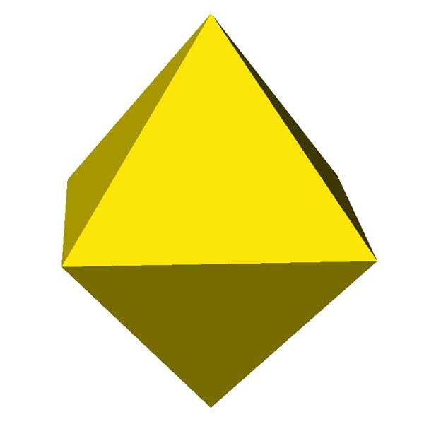 This picture features an octahedron. An octahedron is a polyhedron with 8 equilateral triangle faces.