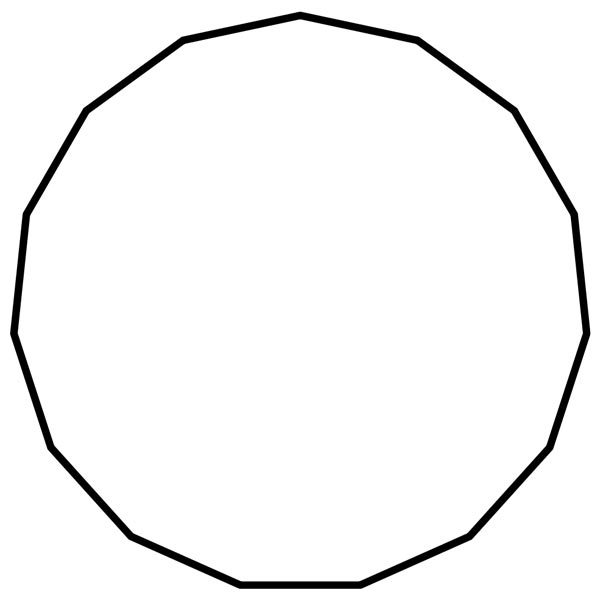 This picture features a pentadecagon. A pentadecagon is a polygon with 15 sides and 15 interior angles which add to 2340 degrees.