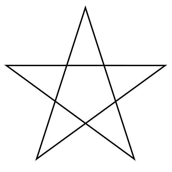This picture features a pentagram star. A pentagram is a 5 pointed star with 5 straight lines that form the shape of a pentagon in the middle.