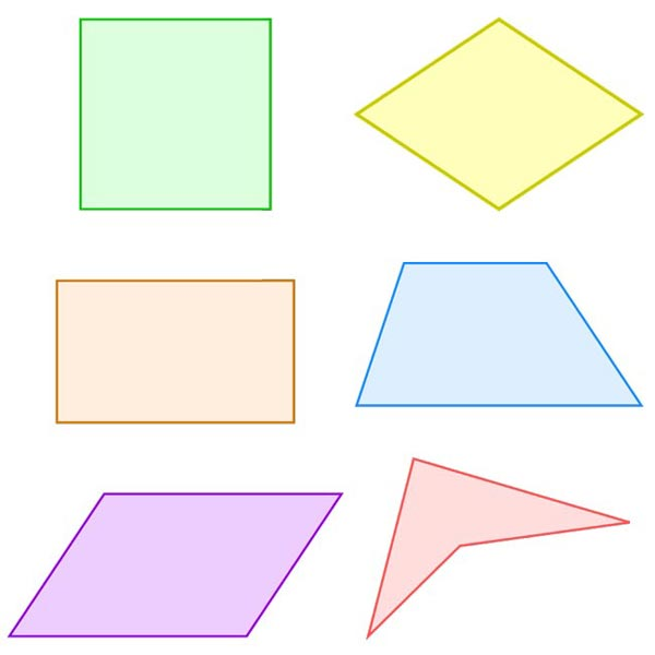 This picture features 6 different types of quadrilateral shapes. Quadrilaterals are polygons with 4 corners and 4 sides.