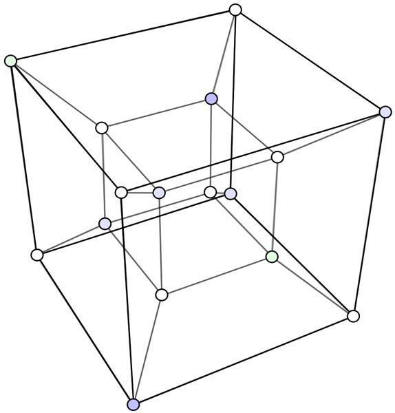This picture features a tesseract hypercube. A tesseract is four dimensional representation of a cube. A square is 2D, a cube is 3D and a tesseract is 4D.