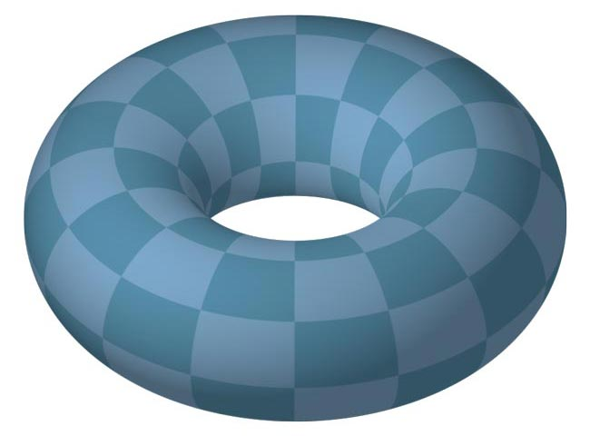 This picture features a torus. A torus is a curved 3D shape that looks similar to a donut.
