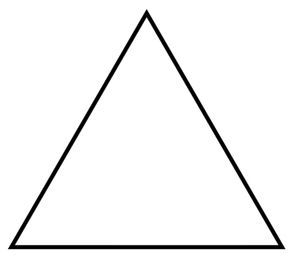 This picture features a triangle. A triangle is a polygon (2D shape) with 3 sides and 3 interior angles which add to 180 degrees.